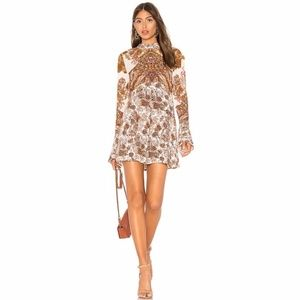 Free People Lady Luck Printed Boho Tunic Dress M
